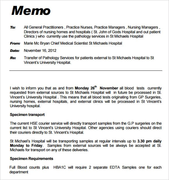 Doc585650 Professional Memo Template Professional Memo – Sample of Interoffice Memo