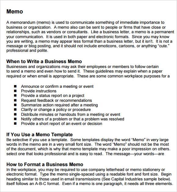 word template memo – Free Memo Template Download