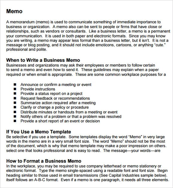 company memo template – Free Memo Template Word