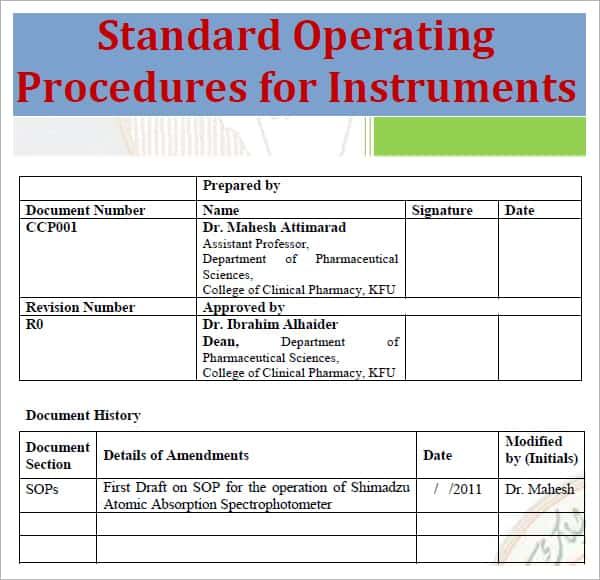 Standard operating procedure template excel pdf formats for Operational guidelines template