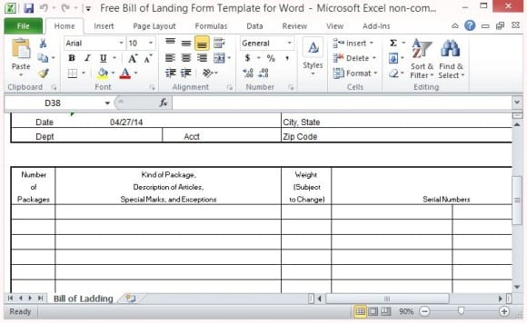 bill of lading template 4