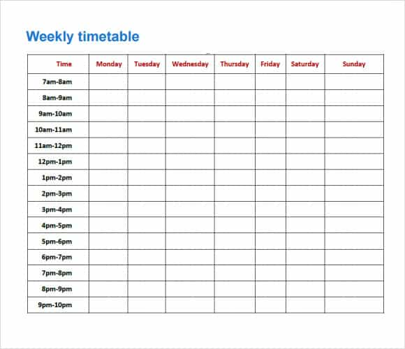 8 Free Timetable Templates Excel Pdf Formats
